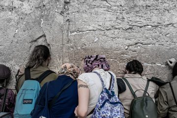 Praying on the wailing wall of Israel